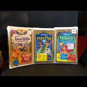 3 New VHS Little Mermaid, Snow White & Peter Pan.
